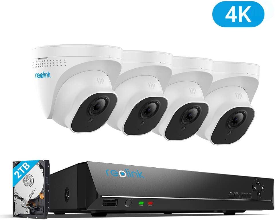 Reolink 4K Ultra HD 8CH Sistema de Cámaras de Seguridad PoE Hogar Exterior, con 4X 8MP Cámaras IP PoE y 2TB HDD NVR, Impermeable Visión Nocturna Audio Detección de Movimiento RLK8-800D4