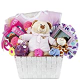 Newborn Baby Girl Gift Basket with Onesie, Plush, Toys, Toy Block and Picture Frame