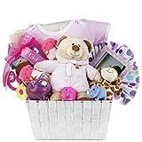 Baby Girl Gift Basket by Pellatt Cornucopia with Baby Girl Essentials and Toys