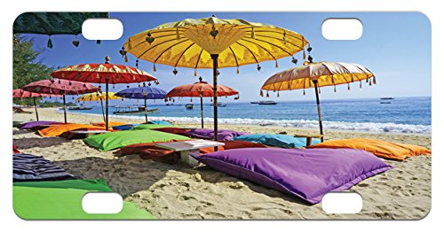 Balinese Decorative Umbrella (Balinese Mini License Plate by Lunarable, Pristine Beach Bathed by the Bali Sandy Seashore Daytime Umbrellas Pillows Leisure, High Gloss Aluminum Novelty Plate, 2.94 L x 5.88 W Inches, Multicolor)