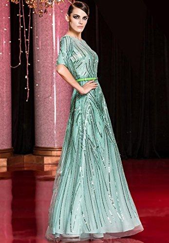 Gürtel See Hülsen Beauty Abendkleider Pailletten Dunkel Blau halbe Rundhalsausschnitt Nacht Through Emily wYYqxA50