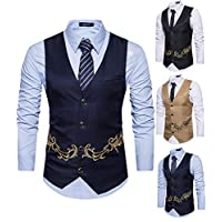 Yomis Men's Formal Suit Waistcoat Tuxedo Slim Fit Casual Business Dress Vest Tops