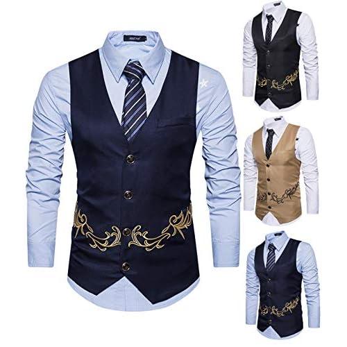 51RHJ5iqQyL. SS500  - Yomis Men's Formal Suit Waistcoat Tuxedo Slim Fit Casual Business Dress Vest Tops