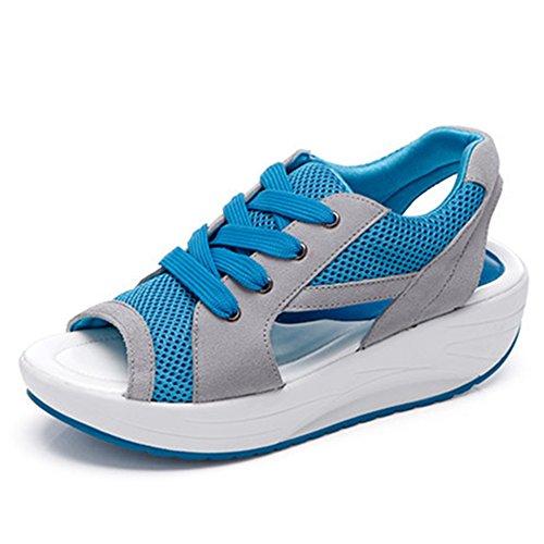 zapatillas de Zapatillas de cómodas de pez mujer de sandalias cuña deportivas transpirable con malla verano cabeza para azul Pfqdfz