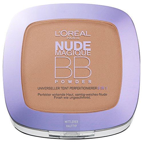 L'Oréal Paris Beauty Balm Powder, mittel / Pflegendes 5 in 1 BB Puder mit Nude-Effekt für jeden Hauttyp / 1 x 9 ml
