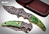 UK-1074, Custom Handmade Damascus Steel Folding Knife – Colored Bone Handle with Damascus Steel Bolsters