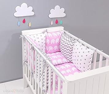 Parure de lit bébé 17 pièces rose et gris 60x120cm avec tour de lit  modulable