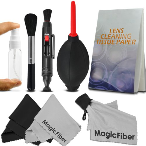 Professional Cleaning Kit for DSLR Cameras (Canon, Nikon, Pentax, Sony) - Includes: Lens Cleaning Pen System + High Quality Lens Brush + Air Blower Cleaner + 50 Sheets Lens Tissue Paper + Handy Empty Spray Bottle + 3 Premium MagicFiber Microfiber Cleaning Cloths