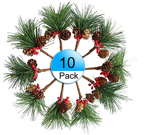 10pcs Artificial Pine Picks Christmas Pine Needles Red Berries Shatterproof Ball Ornaments for Christmas Flower Arrangements, Wreaths, Greeting Cards and Gift Box Decorations