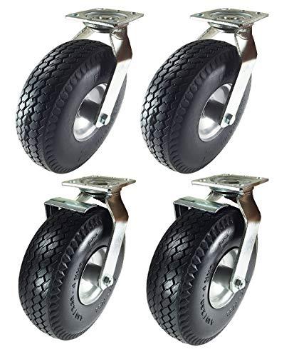 """Pneumatic Wheel Caster 10"""" x 3-1/2"""" Rigid Swivels with Brake (Foam-Flat Free) (2 Swivels & 2 Swivels w/Brake)"""