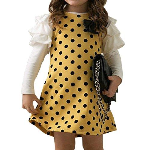Wong Sue Dresses Designer (Top Shop US Girls Polka Dot Butterfly Knot Princess Yellow Dress,130CM)