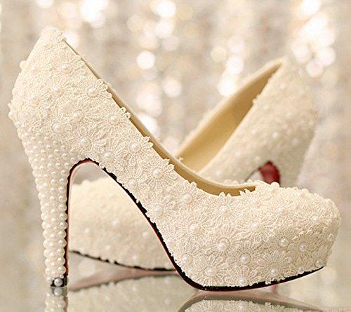 JINGXINSTORE Frauen Hochzeit Runde Toe Sandalen High Heel Spitze Hochzeit Frauen Schuhe Weiß 1f6e6f