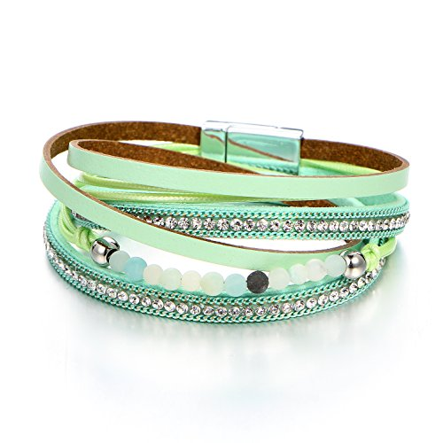FINETOO Green Multi-Row Multihued Beaded Leather Rhinestone Crystal Boho Bohemian Magnetic Clasp Gemstone Double Waist Wrap Bracelet Girl Gift