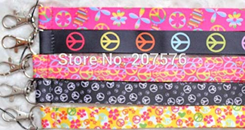 - 3 PC Peace Signs Hippie Print Lanyard Key Chain Neck Strap ID Badge Holder