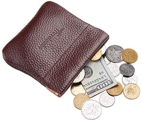 (Travelambo Leather Squeeze Coin Purse Pouch Change Holder For Men & Women (Pebble Red Wine))