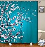 LIVILAN Floral Bathroom Curtain Set with 12 Hooks Cherry Blossom Shower Curtains Fabric Bath Curtain Bathroom Decor,70.8'' x 70.8'', Turquoise