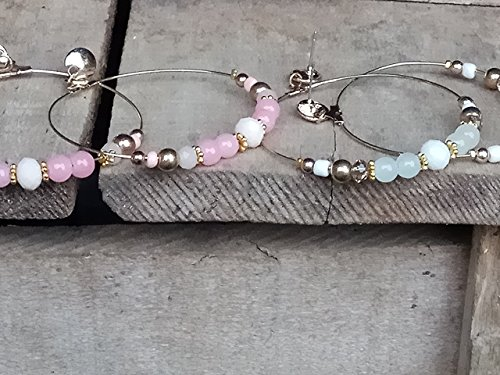 Earrings set, Hoops set, Large hoops, beaded hoop earrings, Extra Large Hoop Earrings, Big Hoop earrings, Big Earrings, Hoop - Near Brighton Me Store