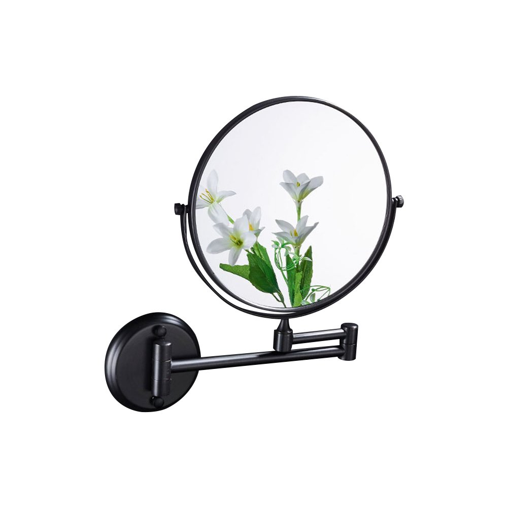 Ameandyou Bathroom Wall Mounted Makeup Mirror Oil-Rubbed Bronze Double Sided with 3X Magnification,No light,Black(8in,3x Magnification)
