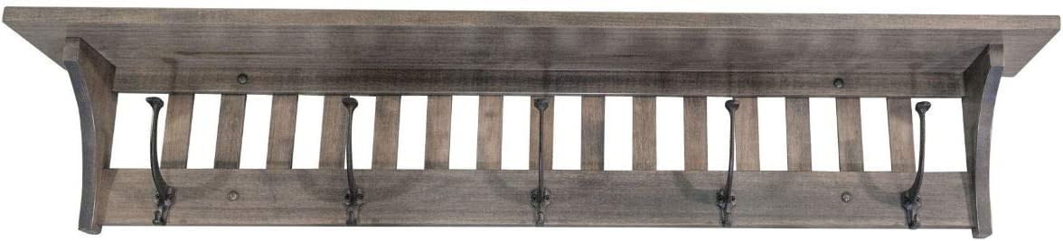 Mission Style Wall Mounted Coat Rack with Shelf Wooden Hat Rack Entryway Organizer with Hooks Rustic Farmhouse Mounted Wall Rack 5 Hooks, 51.5 L, Brown Maple Wood, Antique Slate Stain