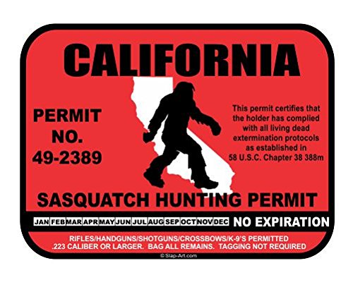 JS Artworks California Sasquatch Hunting Permit License Bigfoot Vinyl Sticker Decal