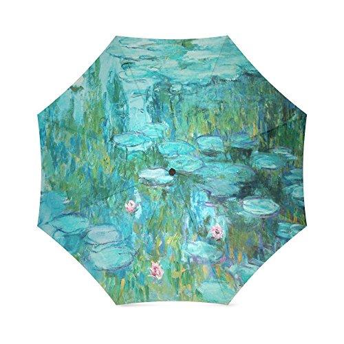 Price comparison product image Famous Painting Lotus Flower,  Waterlilies,  Seerosen by Claude Monet Folding Rain Umbrella / Parasol / Sun Umbrella