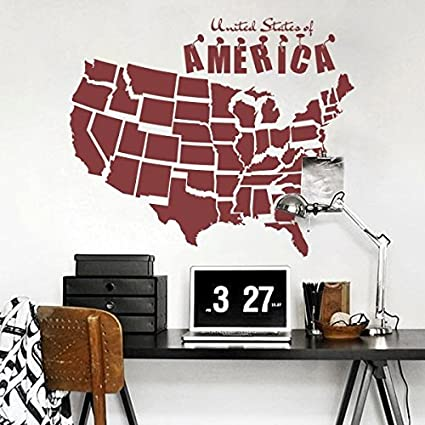 Amazon Com Usa Map Sticker Wall Decal Map Wallpaper United States