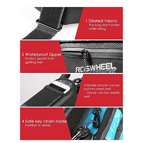 Roswheel 100% Wasserdicht Fahrrad Rahmentaschen Fahrradtasche - 5CM verbreitern Klettverschluss - Position einstellbar, Fahrrad Oberrohrtasche für Mountain Bike mit Sicherheitsschlüsselanhänger