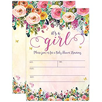 Amazon its a girl baby shower invitations girl baby shower its a girl baby shower invitations girl baby shower invites floral butterfly whimsical filmwisefo