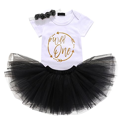 - Baby Girls 1st Birthday Cake Smash 3pcs Outfits Set Cotton Romper Bodysuit+Tutu Dress+Flower Headband Princess Skirt Clothes Black Arrow Wild one Outfits One Size