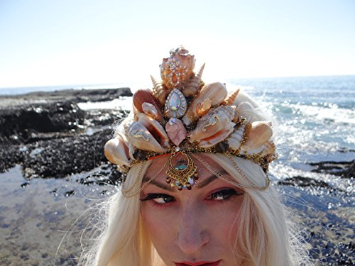 Easter Sale Seahorse Bohemian Mermaid Crown by Star Stuff Boutique Mermaid Headress, Gold Headdress, High Energy Mermraid Headpiece, Seahorse Tiara by Star Stuff Boutique