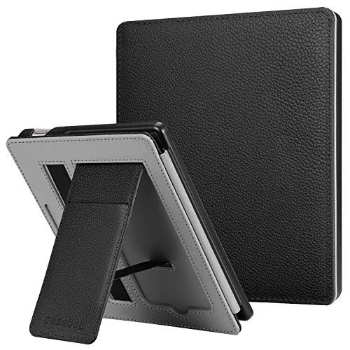 CaseBot Stand Case for All-New Kindle Oasis (10th Generation, 2019 Release and 9th Generation, 2017 Release) - Premium PU Leather Sleeve Cover with Card Slot and Hand Strap, Black