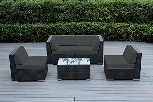 Ohana 5 piece outdoor patio wicker furniture conversation set dark gray top garden world - Must have pieces for your patio furniture ...
