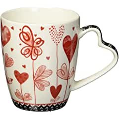 Valentines Hearts Bone China Mug Coffee Cup with Heart Shaped Handle