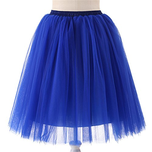 Longueur Womens Haute Jupe pliss Danse Jupe Adulte ESAILQ qualit de Tutu Gaze Bleu Genou YSwqq5d