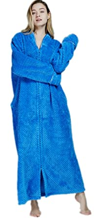 bacab784b718 Women Dressing Gown Winter Long Luxury Flannel Bathrobe with Zip for ...