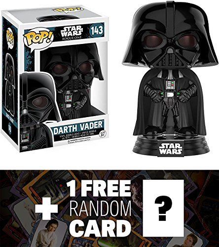 Darth Vader: Funko POP! x Star Wars Rogue One Vinyl Bobble-Head Figure w/ Stand + 1 FREE Official Star Wars Trading Card Bundle (104630)