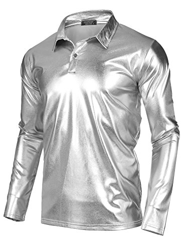 COOFANDY Men's Disco Shirt Metallic Nightclub Style Stylish Classic Solid Long Sleeve Polo Shirt, Silver, XX-Large