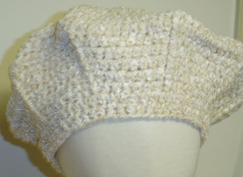 - Hand Crocheted Ivory Chenille Gimp Tweed Beret for Infants and Toddlers