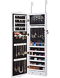Wall-Mounted Jewelry Cabinet Mirrored Over-The-Door Hanging Jewelry Organizer Armoire and Accessories Storage, 2 Drawers and 3 Adjustable Heights (White)