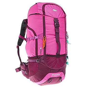 6bc430905 Backpack Rucksack Hiking Camping Outdoor Water Repellent Quechua Forclaz 50L  (Purple   Pink)