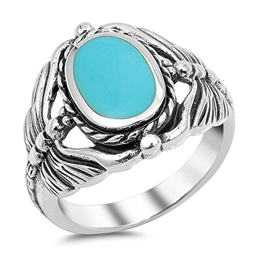 Simulated Turquoise Butterfly Dragonfly Rope Ring New .925 Sterling Silver Band Size 11