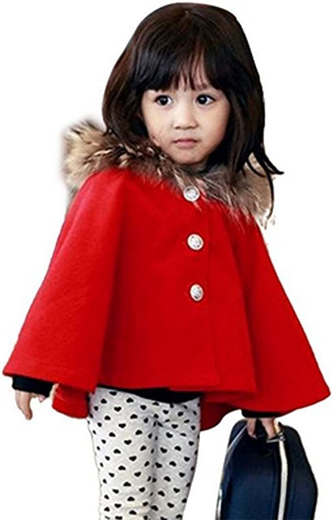 MaxKids Baby and Toddler Boys /& Girls Wool Blend Winter Hooded Outerwear Capes Poncho Coat