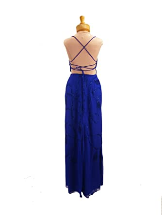 Amazon.com: Royal Blue Prom Dress. Silk Beaded Dress. Womens Long ...