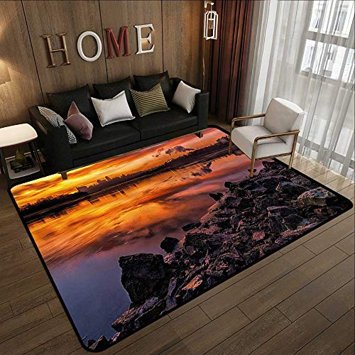 (Office Floor mats,Landscape,USA Missouri Kansas City Scenery of a Sunset Lake Nature Camping Themed Art Photo,Multicolor 47