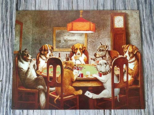 (Personalized Dogs Playing Cards tin Sign, Dogs Playing Poker, Game Room, Playing Cards, Man cave Texas Holdem, Vintage Style Sign,Funny Sign Metal Sign Tin 8