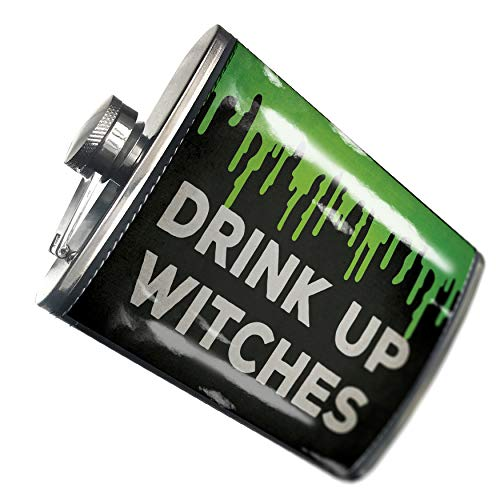 NEONBLOND Flask Drink Up Witches Halloween Green Slime Hip Flask PU Leather Stainless Steel -