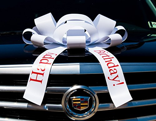 Eight24hours White Happy Birthday Car Bow Vinyl Magnetic Back No Scratch 2.5 feet - White by Eight24hours (Image #1)