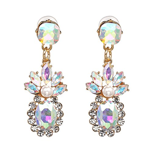 Jewelry Simulated Pearl Crystal Drop Earrings For Girls Earring Jewelry AB color