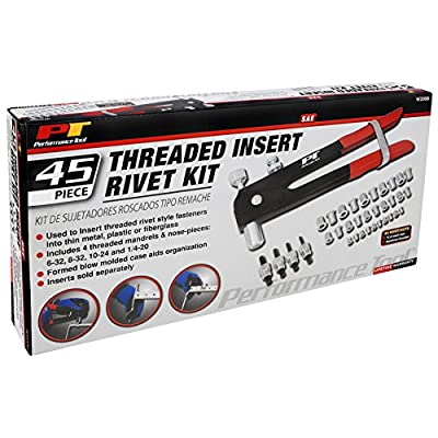 Performance Tool W2006 SAE Rivet Nut Kit Set, Riveter Tool, Rivet Nut Gun, Thread Hand Riveter, Rivet Gun, Riveting Tools with 45pc, Metric Rivet Nuts Included -/32, 8-32, 10-24, 1/4-20: Automotive