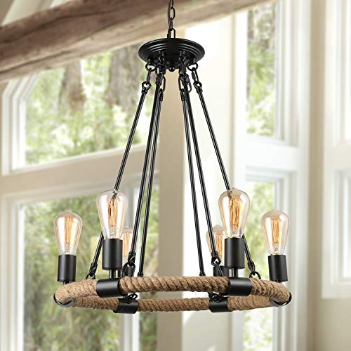 LNC Farmhouse Chandelier, Pendant Lighting for Kitchen Island, Living Room, Dining Rooms, -